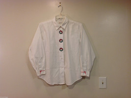 Talbots White Shirt Embroidery Christmas Wreaths and Bows , Size L
