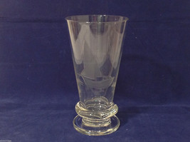 Tall Clear Glass Copper Wheel Engraving Sail Boat Vase - $39.99
