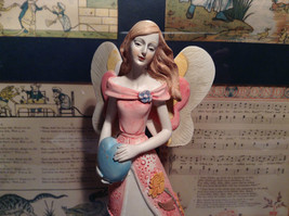 Tall Mira Flora Handcrafted Resin Angel Figurine with Heart
