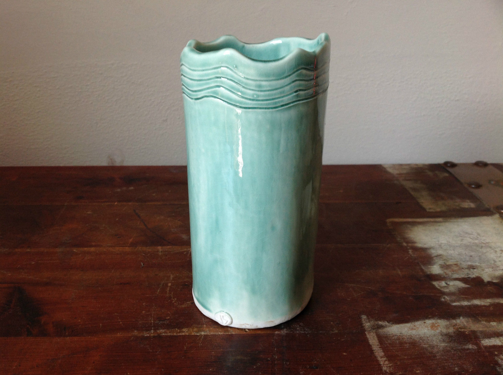 Tall Light Blue Ceramic Cylindrical Open Top Vessel Vase Hand Crafted Artisan