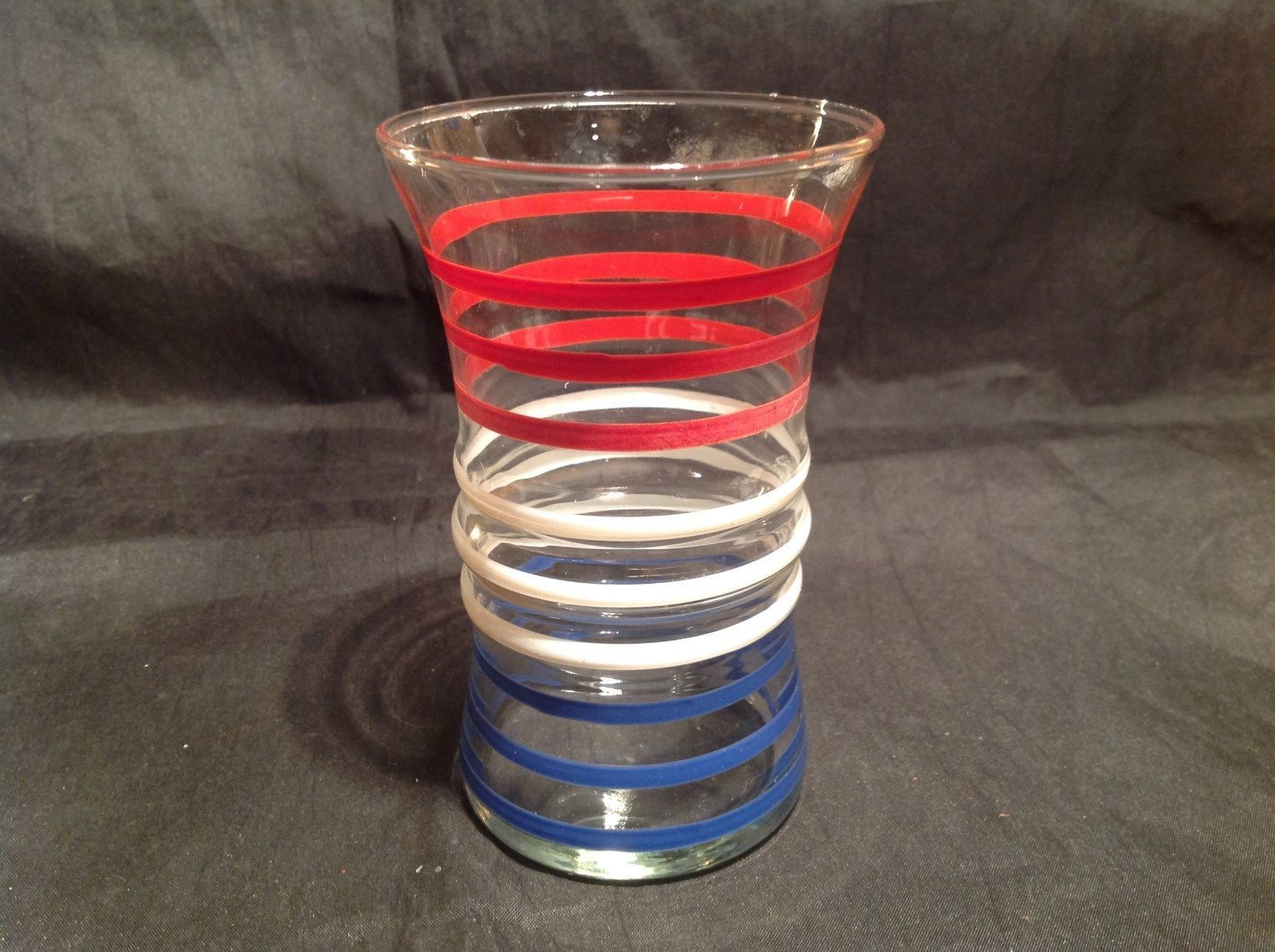 Tall Red White and Blue Stripes Glass Over Four Inches Tall vintage patriotic