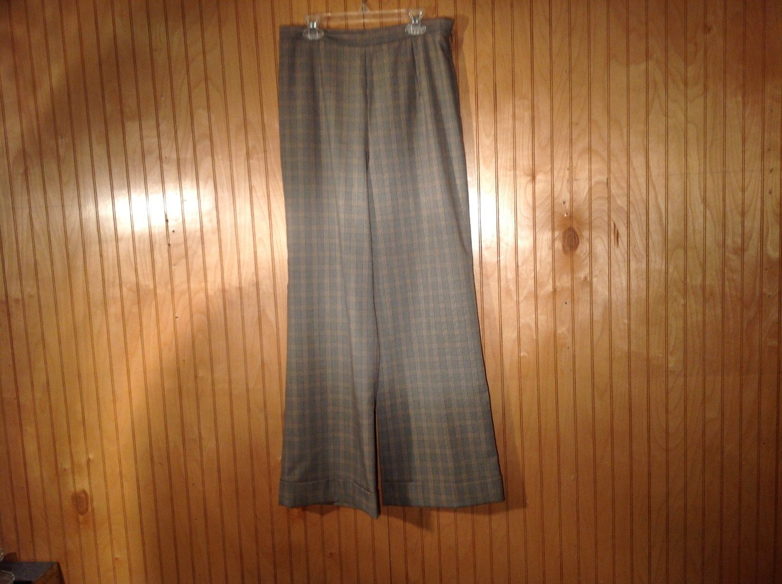 Talbots Stretch Size 8 Plaid Pants Made in USA Cuffed Pant Legs Side Zipper
