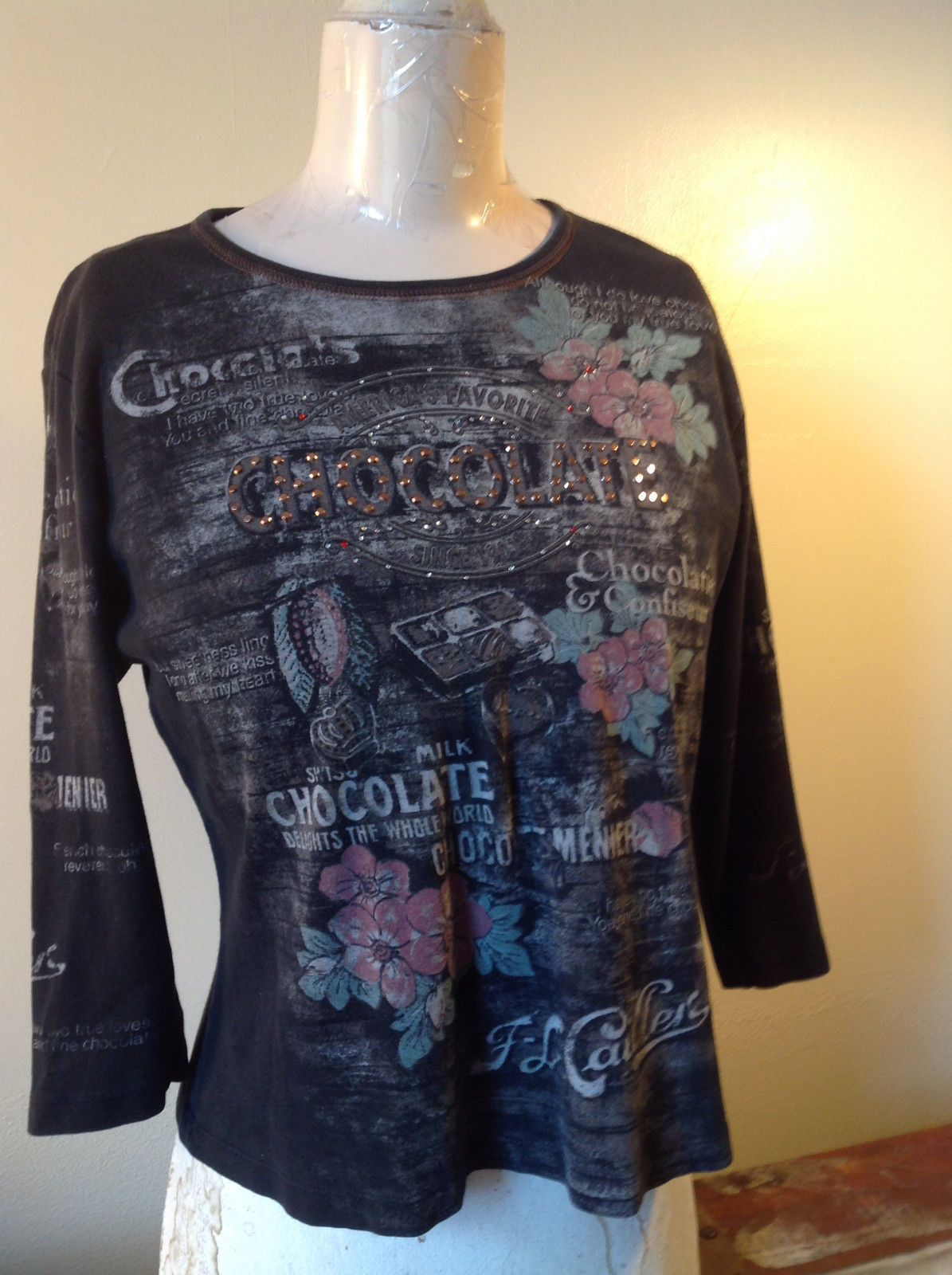 Talk of the Walk Atlantic City Black Three Quarter Length Sleeves Top Size M