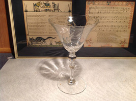 Tall Vintage Crystal Champagne Glass Flute Copper Wheel Engraving