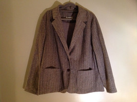 Tan Brown Tweed Like Design Button Up Blazer Alfred Dunner Size 18