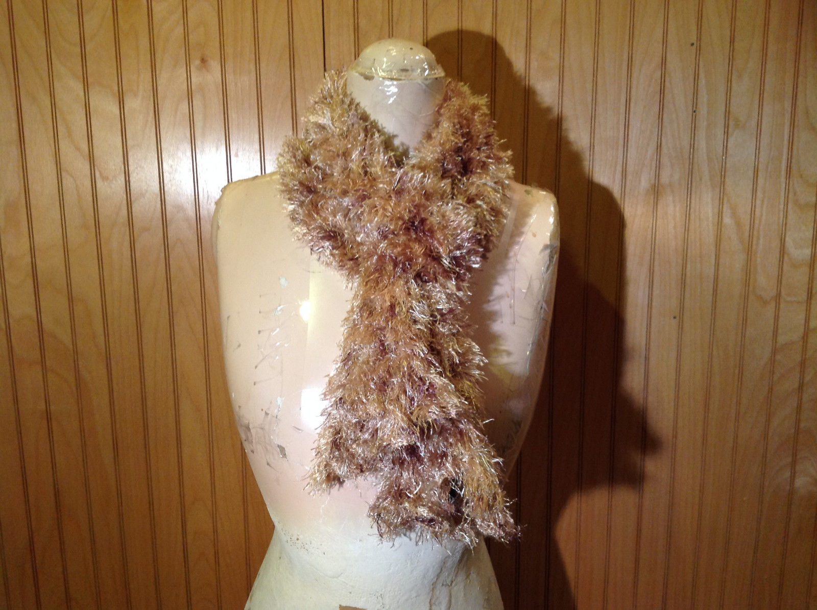 Tan Brown Magic Spotted Fuzzy Circle Scarf Can Be Worn Multiple Ways NO TAGS