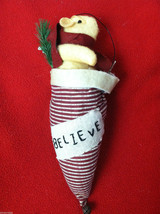 "Tan Christmas Mouse in ""Believe"" Red/White Striped Fabric Hat Ornament"
