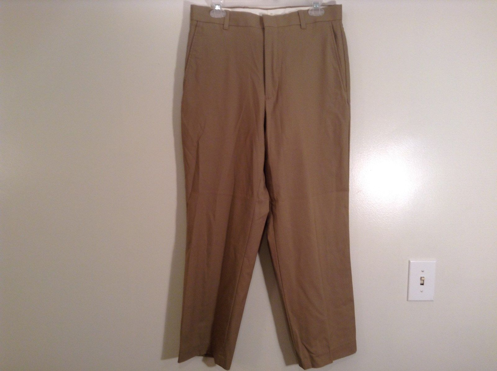 Tan Classic Fit L L Bean Flat Front Wool Dress Pants Size 32W High Quality