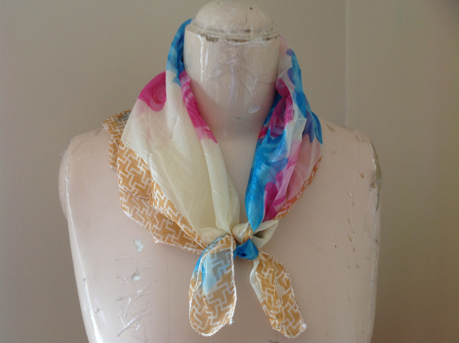 Tan Geo Pink Blue Flower Design Square Scarf  Hanfei Light Weight Material