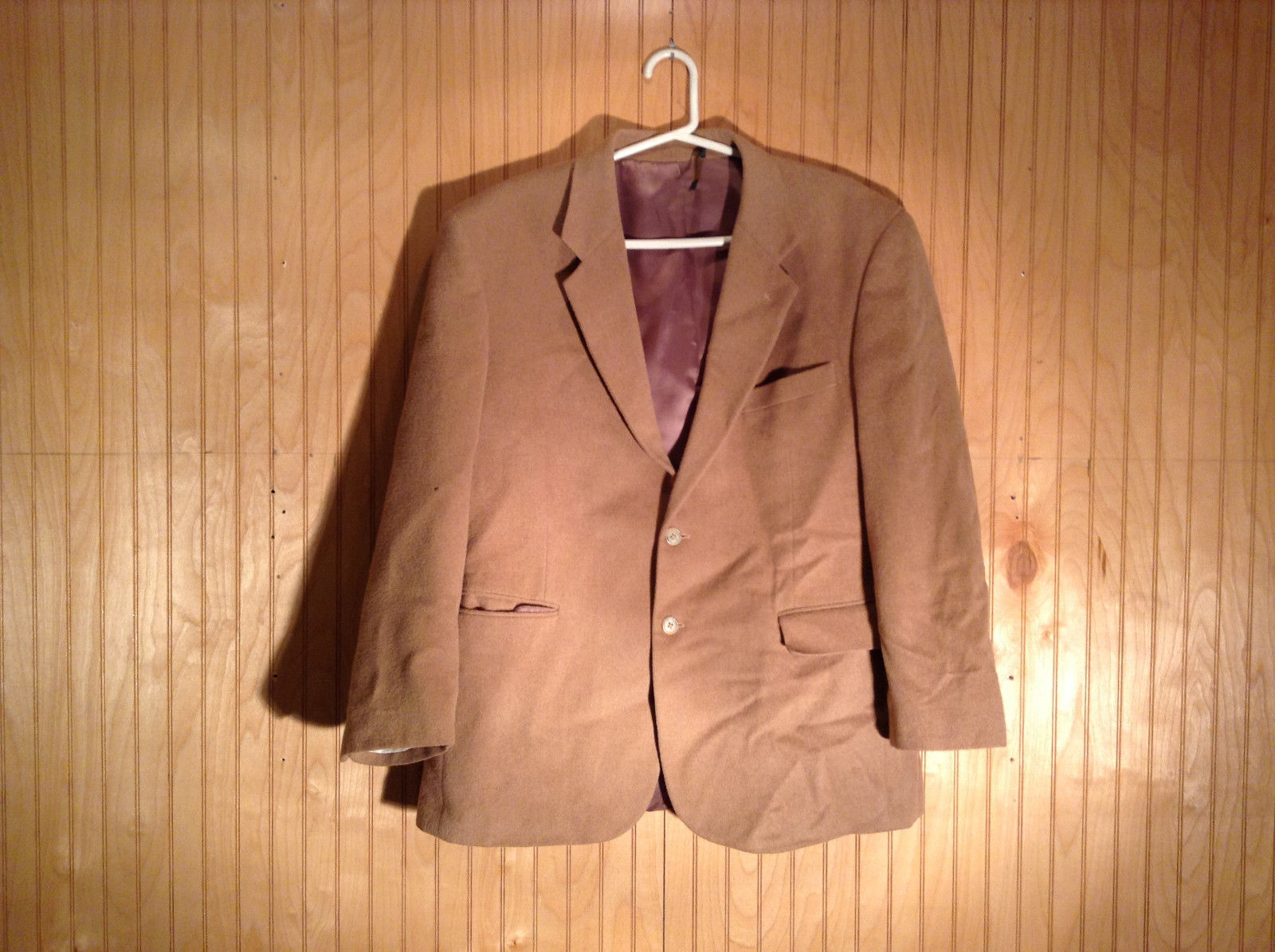 Tan Fleece Blazer Two Buttons Three Pockets Wine Purple Lining NO TAGS
