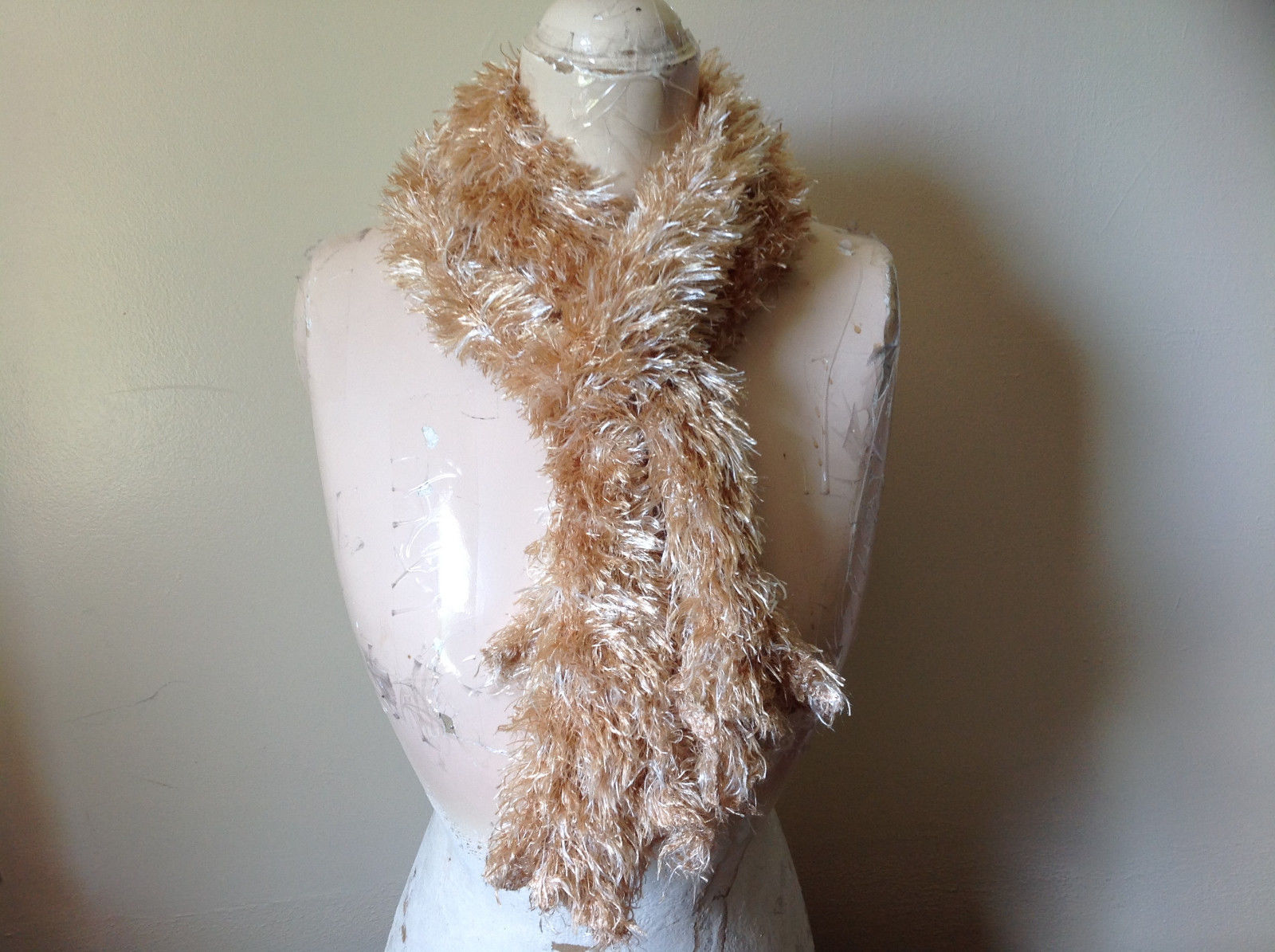 Tan Magic Fuzzy Circle Scarf Can Be Worn Multiple Ways Very Expandable NO TAGS