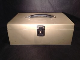 Tan Money storage Box with Black Handle Black Inside Separators No Key