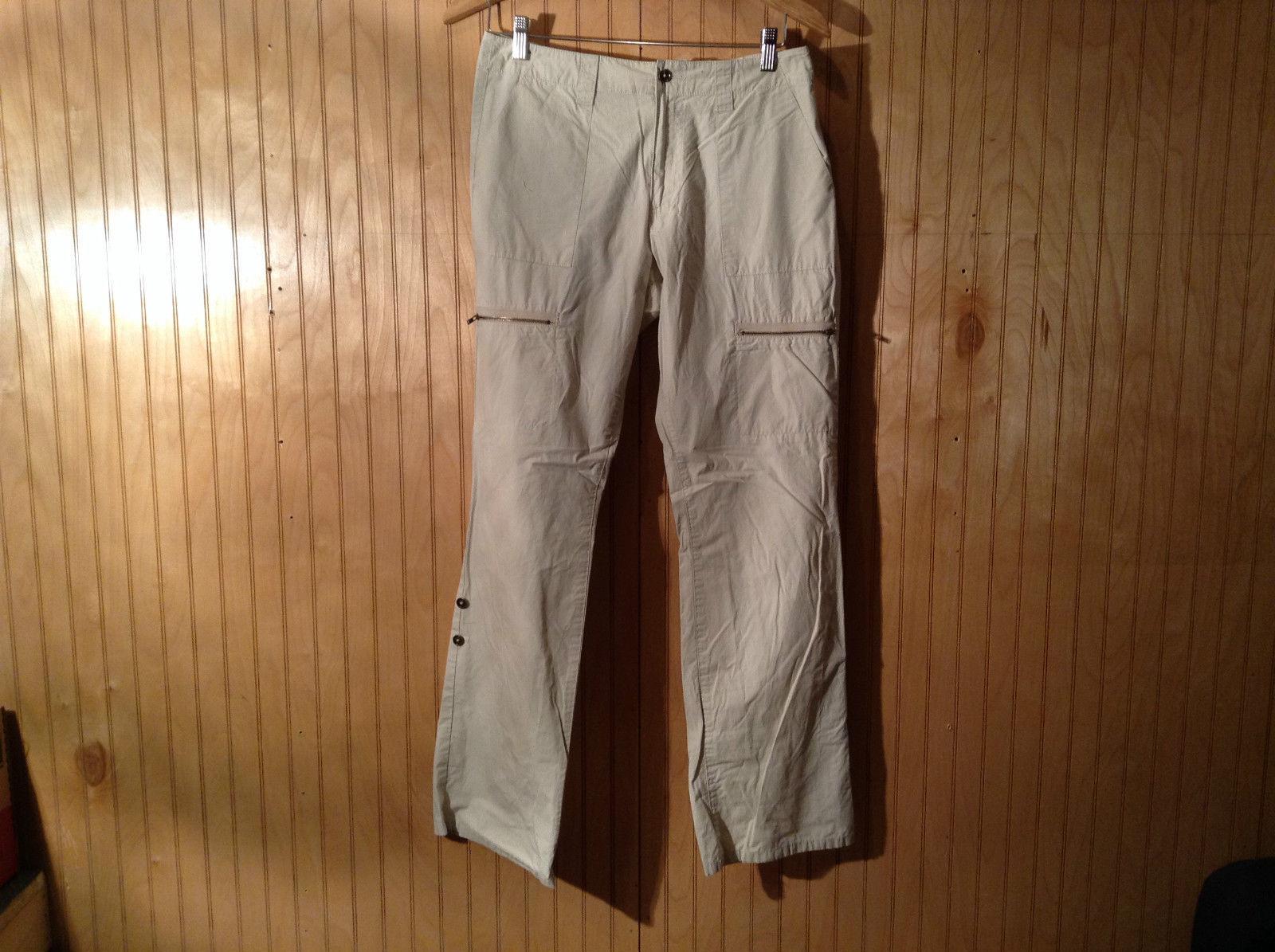 Tan Calvin Klein Casual Pants 2 Side Pockets 2 Back Pockets 2 Leg Pockets Size 6