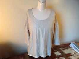Tan Metallic Liz Claiborne Three Quarter Length Sleeve Length Shirt Size XL