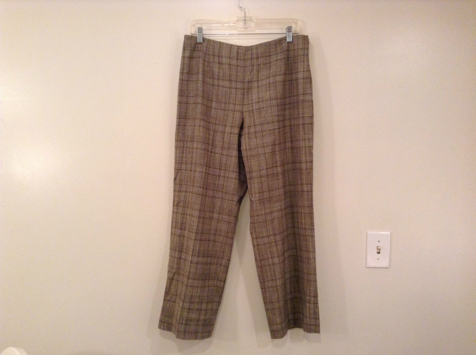 Tan Light Brown Plaid Talbots Petite Stretch Size 14 Lined Pants Side Zipper