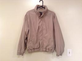 Tan Eddie Bauer Lined Jacket 2 Front Pockets 1 Inside Pocket Zip Closure Size M