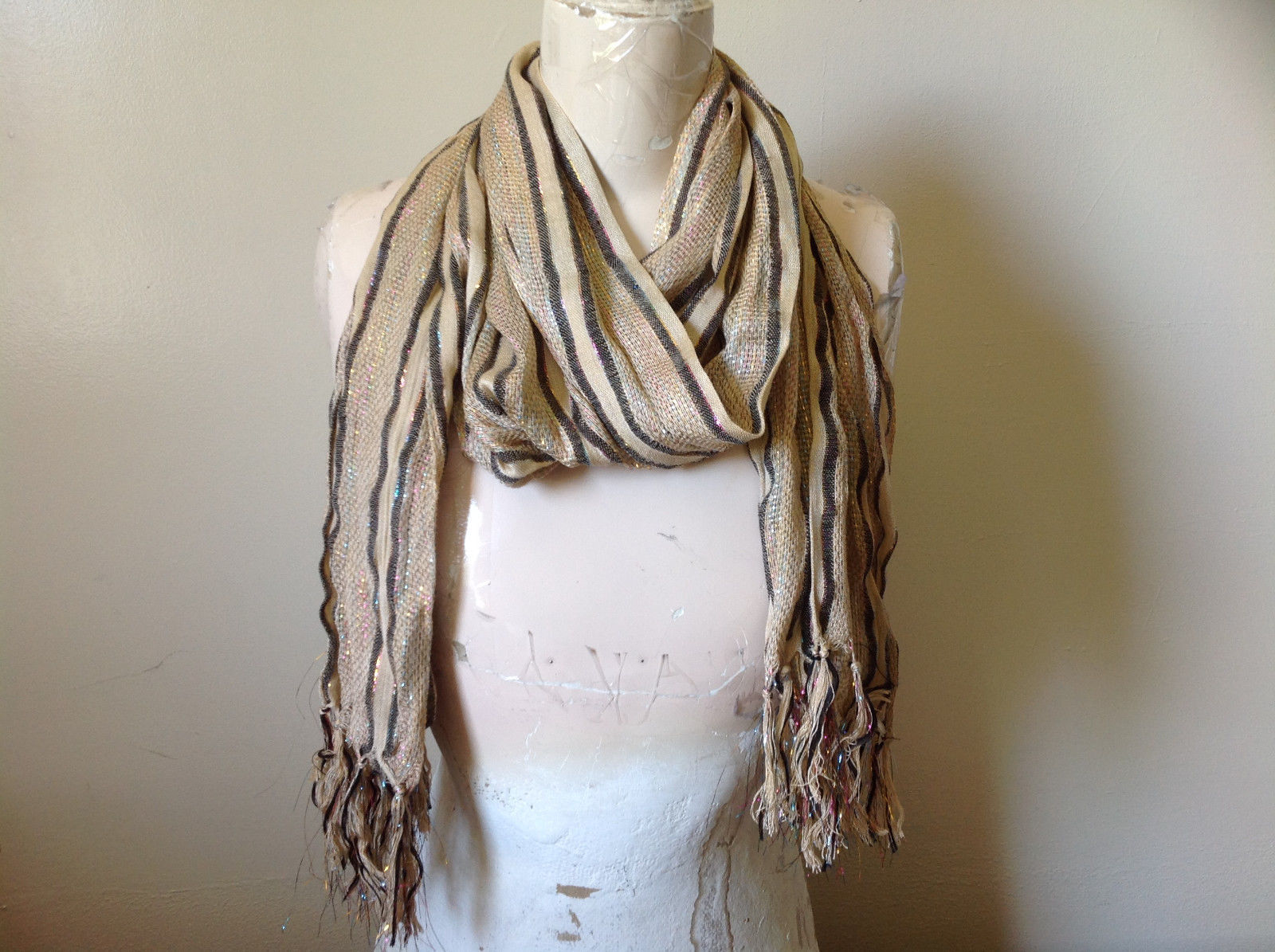 Tan Striped Rainbow Metallic Stripes Tasseled Fashion Scarf No Tag
