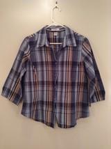 Tan Teal Plaid Button Up Dressbarn Top Size L Three Quarter Length Sleeves