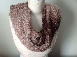 Tan and Brown Chocolate Faux Curly Lamb Infinity Scarf See Measurements Below image 1