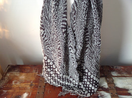 Tan and Brown Boho Style Scarf with Dots