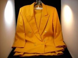 Tangerine Gaberdine 2 Piece Skirt Jacket Suit