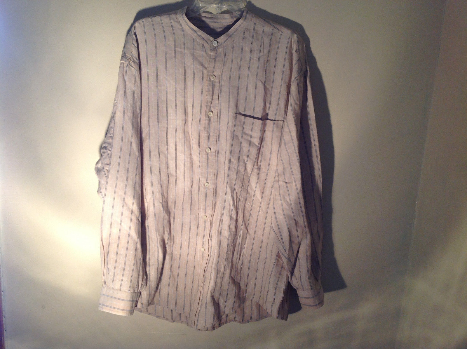 Tan with Blue Stripes Button Up Long Sleeve Dress Shirt Eddie Bauer Size Large