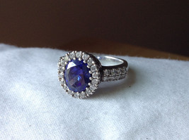 Tanzanite with CZ Accents White Gold Plated Ring Beautiful Design Size 7