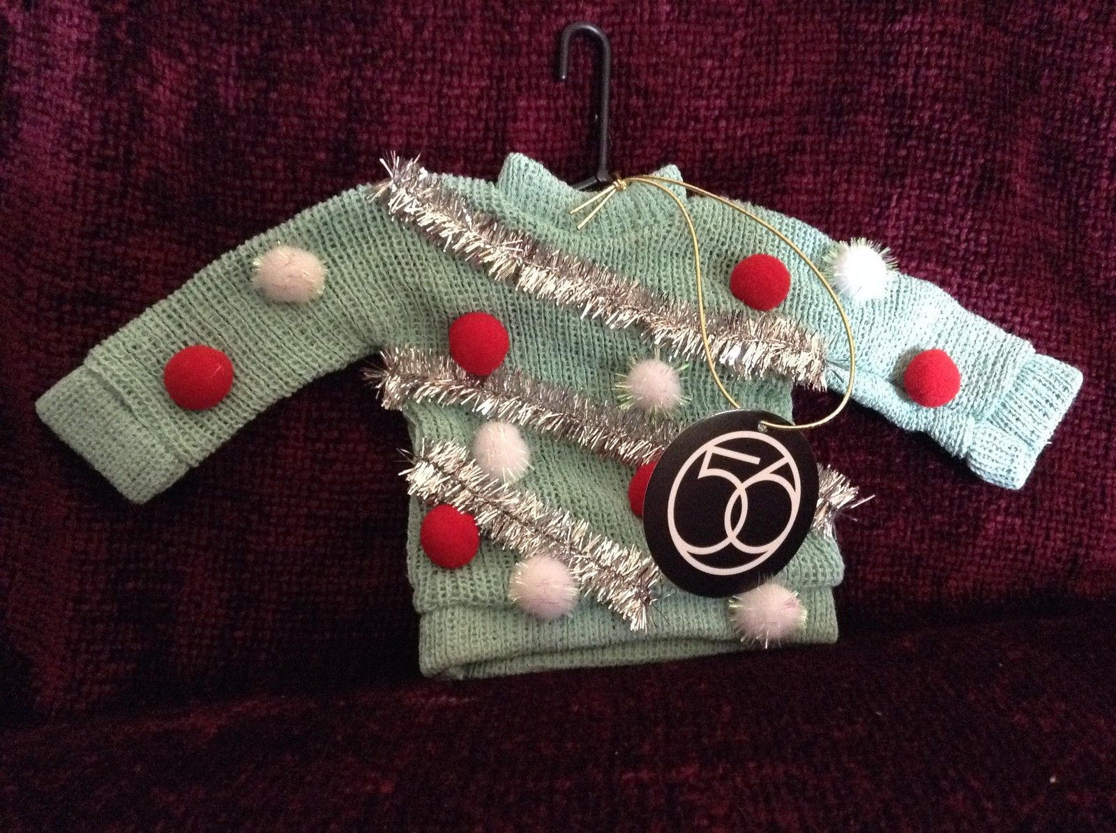 Teal Colored Poseable Ugly Sweater Ornament Silvery Decorations Red White Balls