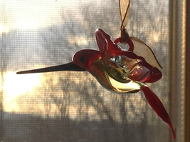 Teal Yellow Red Hand Blown Glass Hummingbird Window Tree Hanging Ornament
