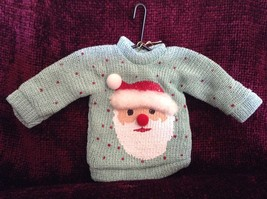 Teal Polka Dot Poseable Ugly Sweater Ornament Santa on Front Department 56
