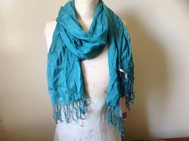 Teal Scrunched Style Silk Mix Scarf by Look Tag Attached Soft Material