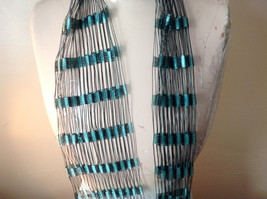 Teal and White Filigree Three in One Scarf Headband Belt