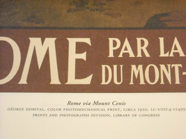 Vintage Reprint Color 1920 Travel Ad Rome, Italy Mont-Cenis Ruins Paris Poster image 3