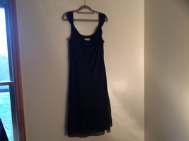Arianna Papell Little Black Sleeveless Dress with Beaded Floral Design Size 14 image 2