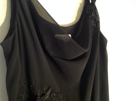 Arianna Papell Little Black Sleeveless Dress with Beaded Floral Design Size 14 image 4