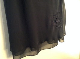 Arianna Papell Little Black Sleeveless Dress with Beaded Floral Design Size 14 image 7