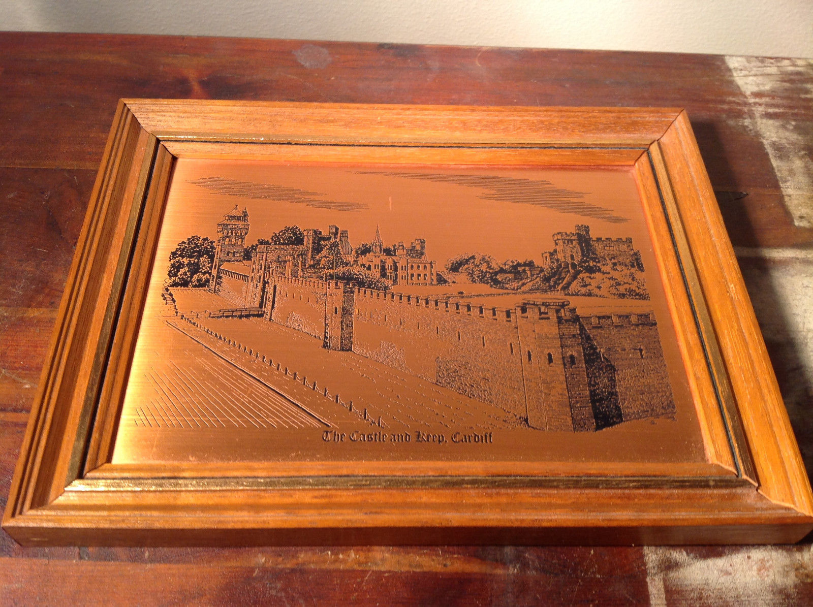 The Castle and Keep Cardiff Copper Etching Wall Decoration Made in England