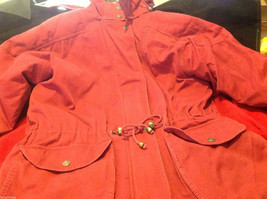 The Great Outdoors Woman's Hooded Red Jacket w/ Drawstring Waist w/measurements