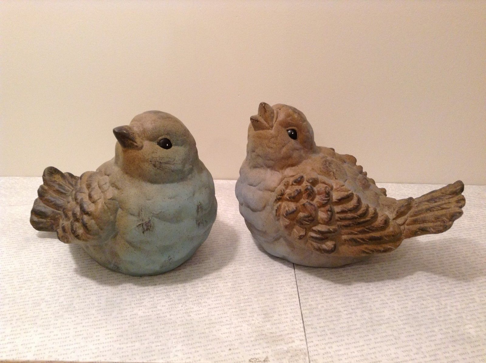 Terra cotta spring summer new baby blue bird duo fluttering their wings