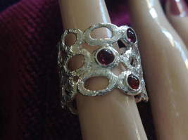 Textured Sterling Silver Nature Inspired Garnet Wrap Ring Size Choice 7 or 8