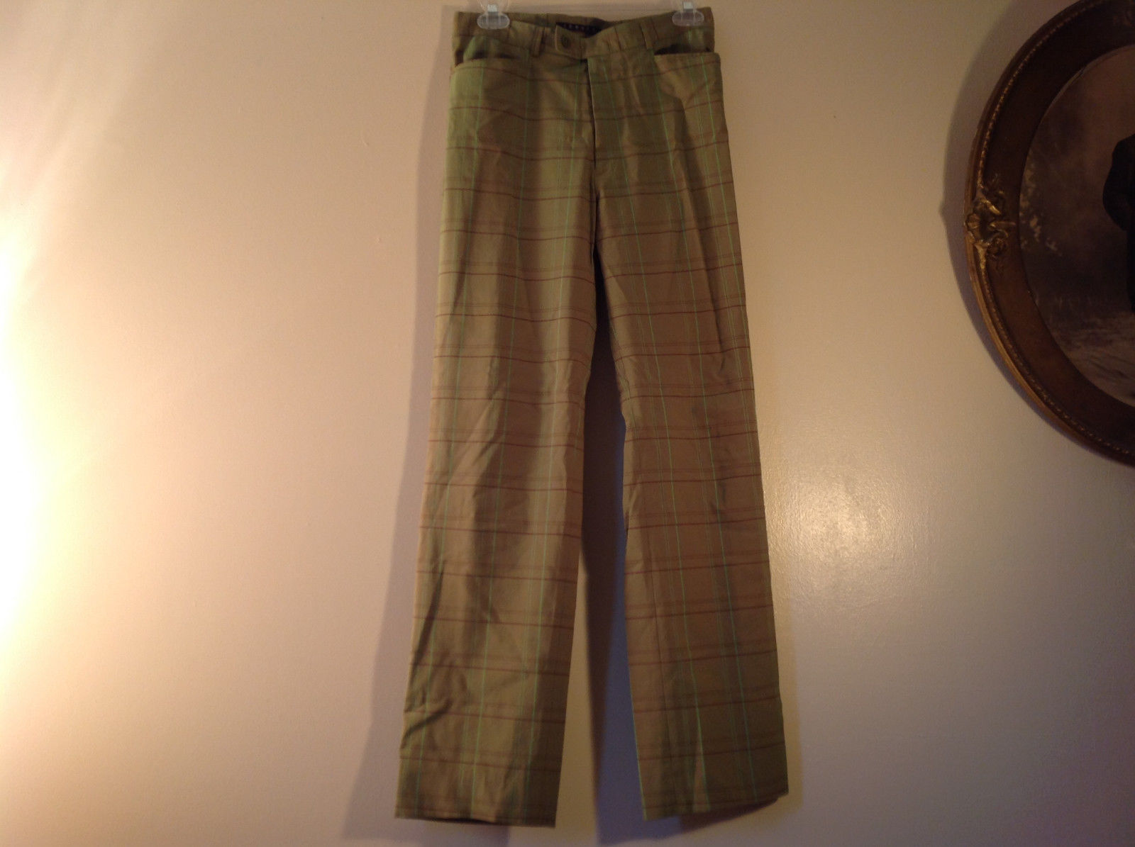 Theory Size 10 Fluorescent Green Plaid Casual Pants Made in USA Color Changing