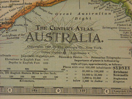 Reproduction print of Vintage map of Australia from The Century Atlas 1897 image 2