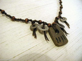 Repurposed tribal punk hand knotted necklace with metal artifacts engraved image 3