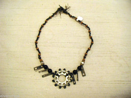 Repurposed tribal punk hand knotted necklace with metal garage artifacts gears image 3