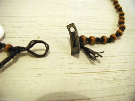Repurposed tribal punk hand knotted necklace with coconut wood beads image 3