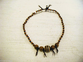 Repurposed tribal punk hand knotted necklace with coconut wood beads image 4