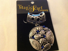 The Magic Scarf Company Silver Tone with Blue Crystals Scarf Pendant 2 Inches