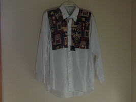 The Quacker Factory Long Sleeve White Button Up Dress Shirt  Christmas Theme