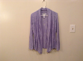 The Paragon Lavender with Floral Pattern Long Sleeves Open Front Blouse Size S