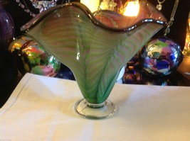 Art Vase Blown Glass Two tone green and pink fern swirl made in USA image 5
